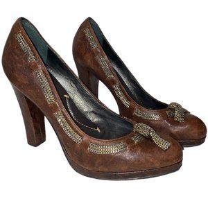 👗👖BCBGMaxAzria Brown 100% Leather Heel with Bow